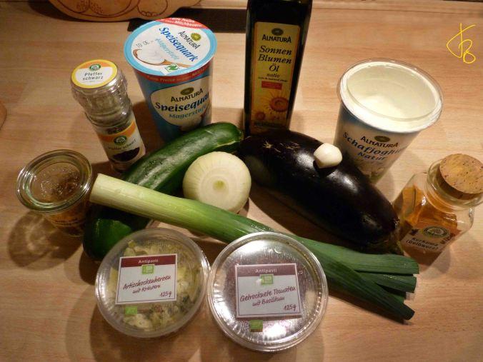 Zasiki mit Zucchini, Aubergine
